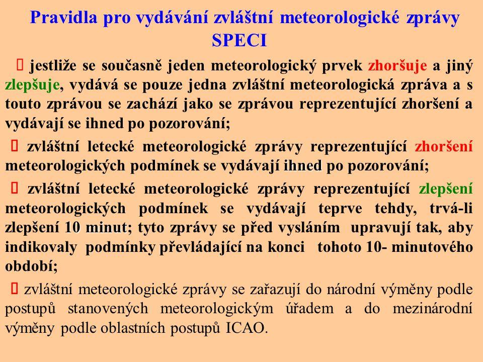 Pravidla pro vydávání zvláštní meteorologické zprávy SPECI