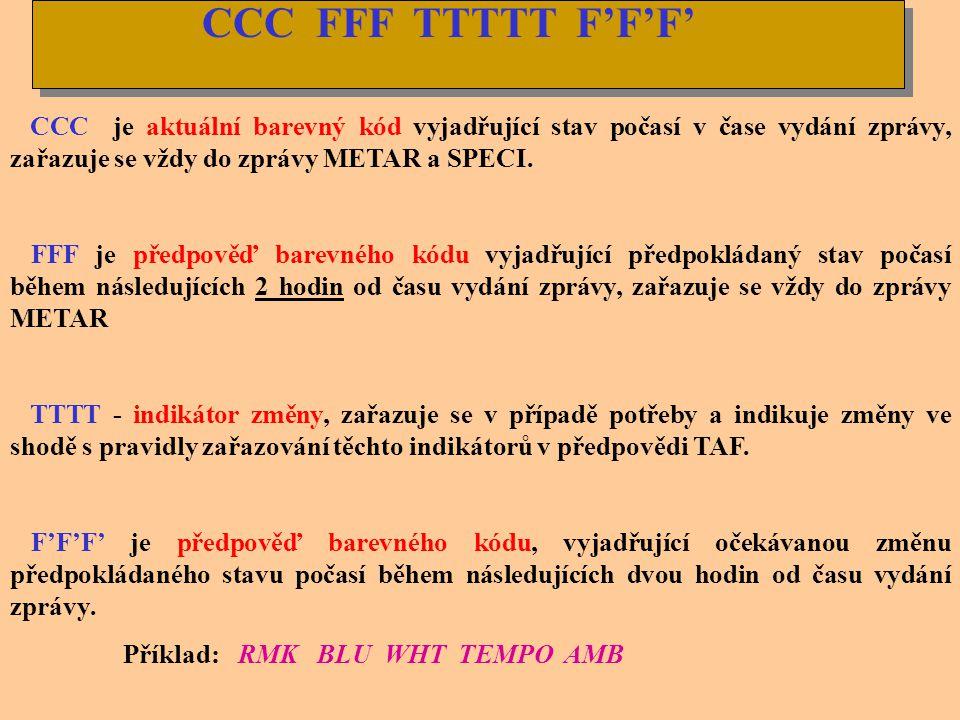 CCC FFF TTTTT F'F'F' CCC je aktuální barevný kód vyjadřující stav počasí v čase vydání zprávy, zařazuje se vždy do zprávy METAR a SPECI.