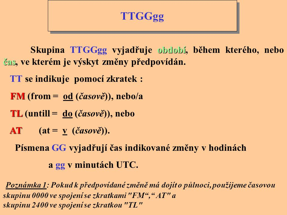 TTGGgg Skupina TTGGgg vyjadřuje období, během kterého, nebo čas, ve kterém je výskyt změny předpovídán.