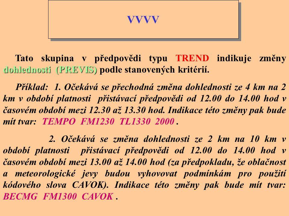 VVVV Tato skupina v předpovědi typu TREND indikuje změny dohlednosti (PREVIS) podle stanovených kritérií.