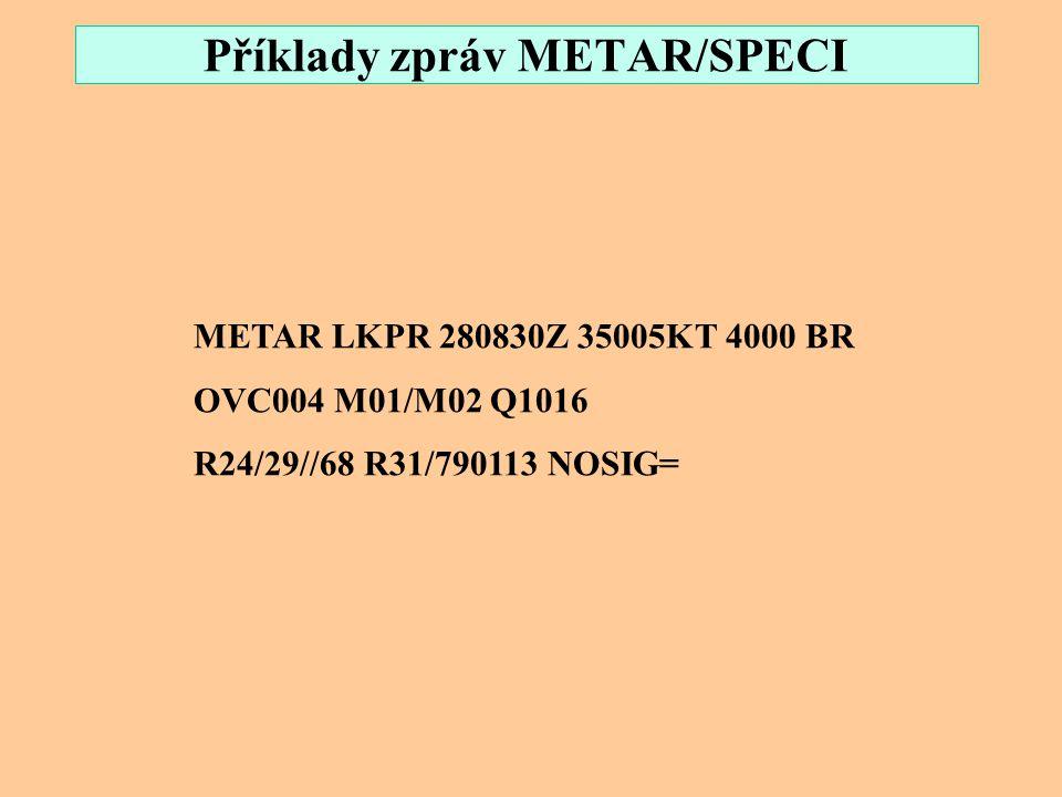 Příklady zpráv METAR/SPECI