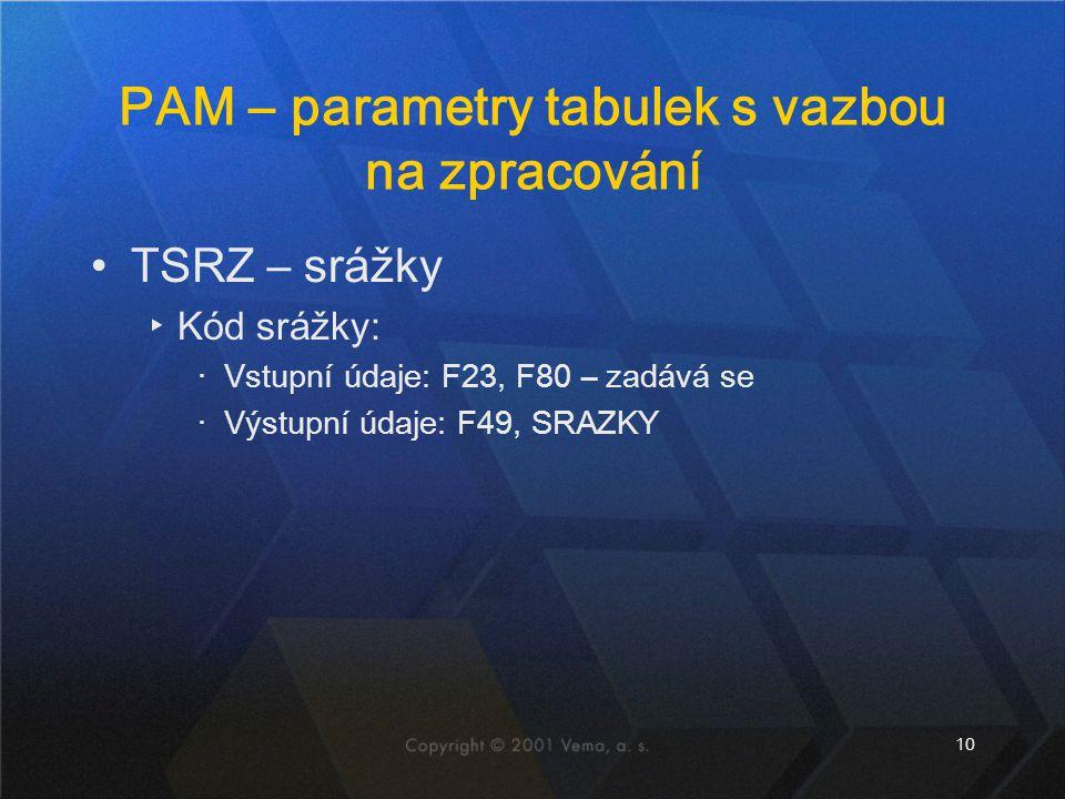 PAM – parametry tabulek s vazbou na zpracování