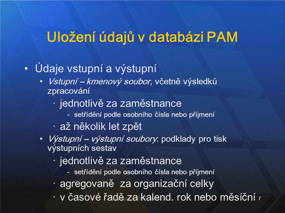 Uložení údajů v databázi PAM