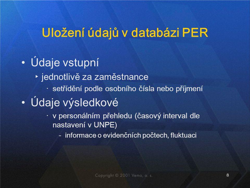 Uložení údajů v databázi PER