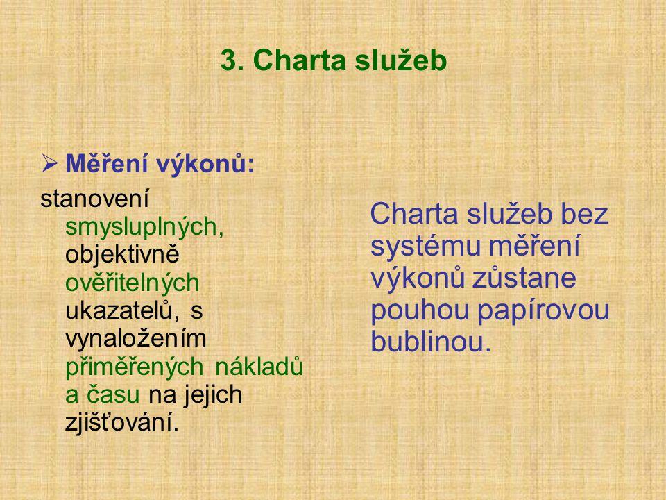 3. Charta služeb Měření výkonů: