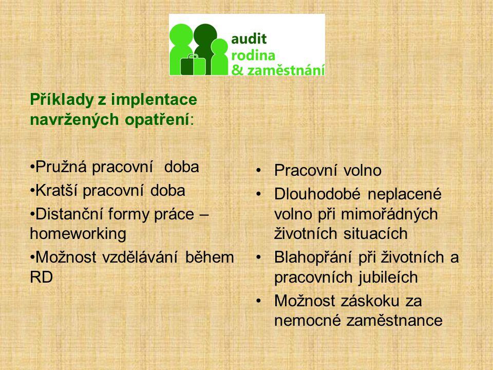 Příklady z implentace navržených opatření: