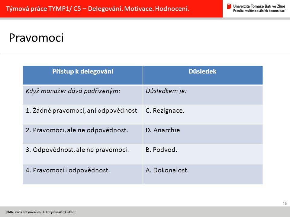 Pravomoci Týmová práce TYMP1/ C5 – Delegování. Motivace. Hodnocení.
