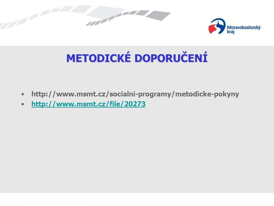 METODICKÉ DOPORUČENÍ http://www.msmt.cz/socialni-programy/metodicke-pokyny.