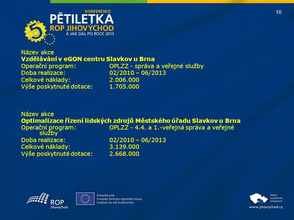 Název akce Vzdělávání v eGON centru Slavkov u Brna. Operační program: OPLZZ - správa a veřejné služby.