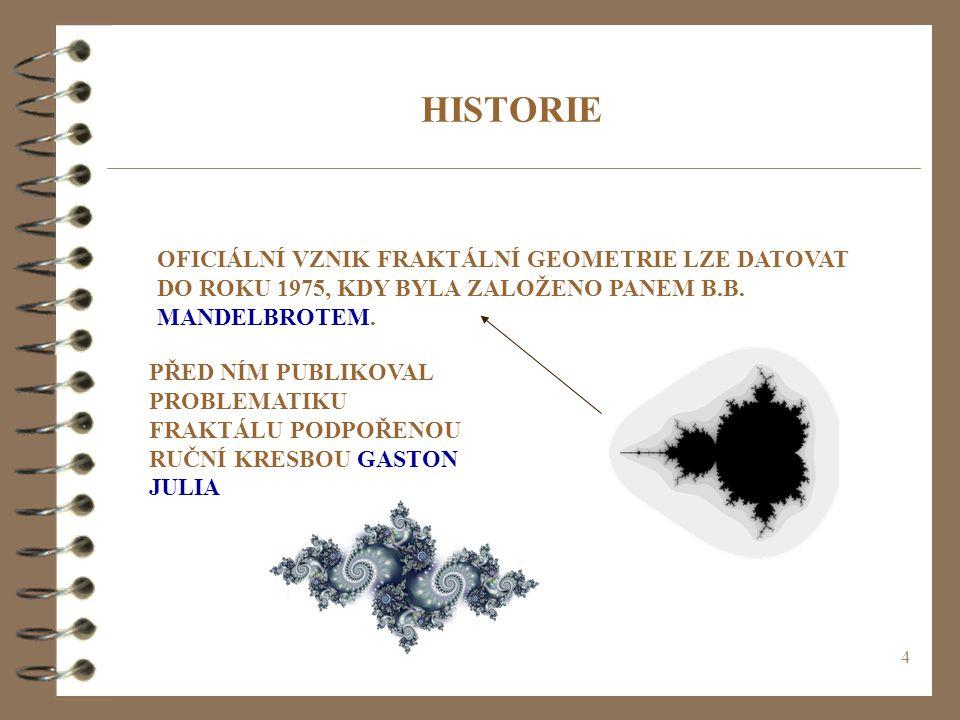 HISTORIE OFICIÁLNÍ VZNIK FRAKTÁLNÍ GEOMETRIE LZE DATOVAT DO ROKU 1975, KDY BYLA ZALOŽENO PANEM B.B. MANDELBROTEM.