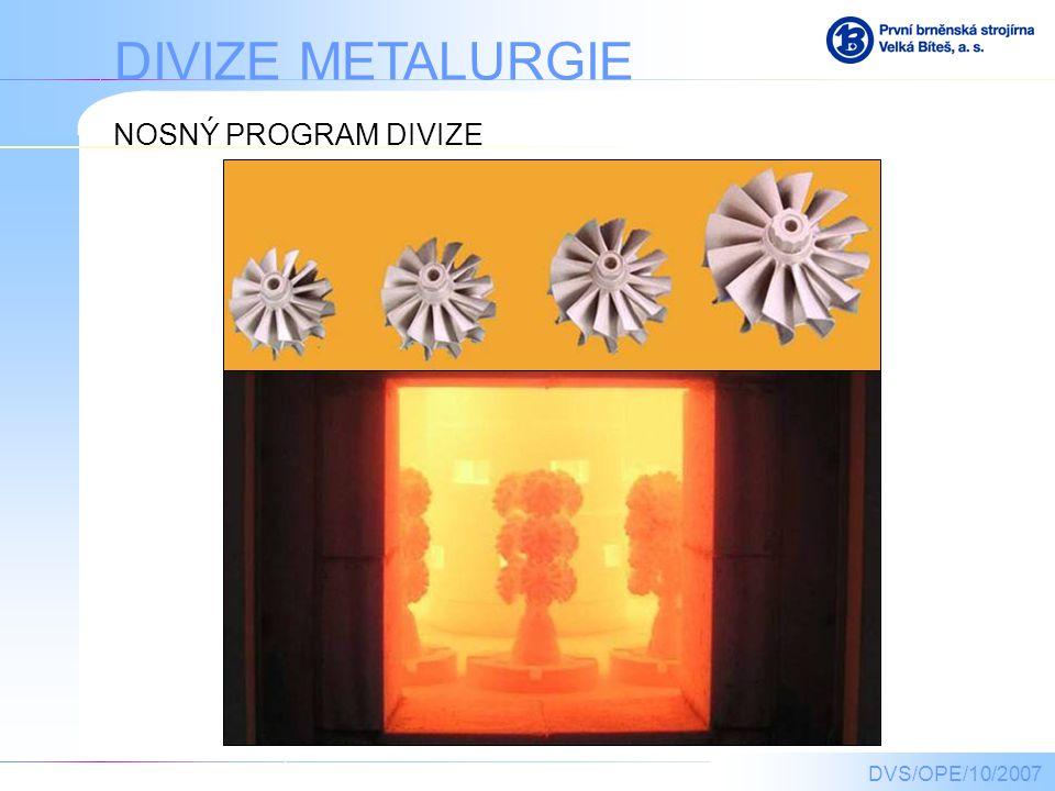 DIVIZE METALURGIE NOSNÝ PROGRAM DIVIZE DVS/OPE/10/2007