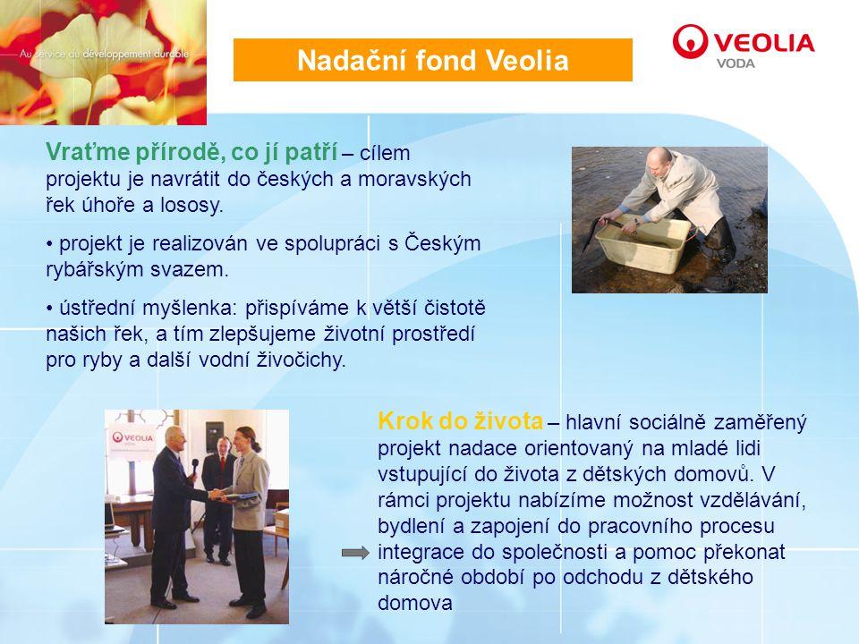 Nadační fond Veolia Vraťme přírodě, co jí patří – cílem projektu je navrátit do českých a moravských řek úhoře a lososy.