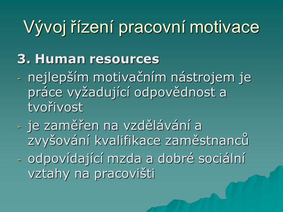 Vývoj řízení pracovní motivace
