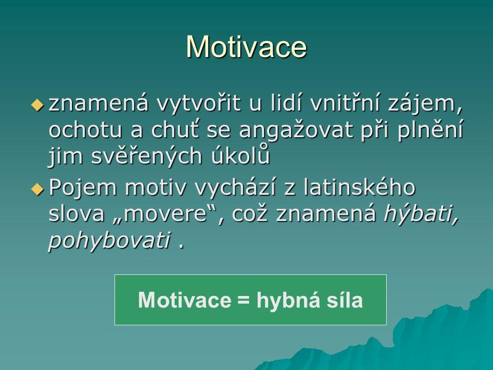 Motivace znamená vytvořit u lidí vnitřní zájem, ochotu a chuť se angažovat při plnění jim svěřených úkolů.
