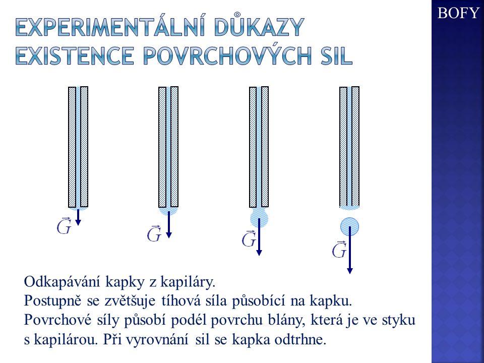 Experimentální důkazy existence povrchových sil