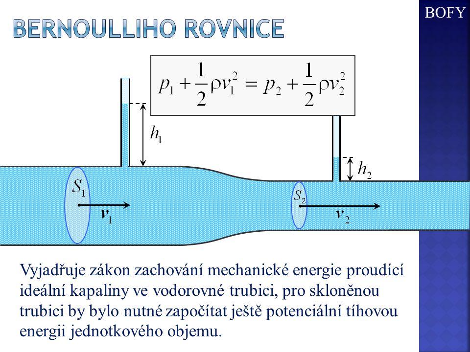 BOFY Bernoulliho rovnice.