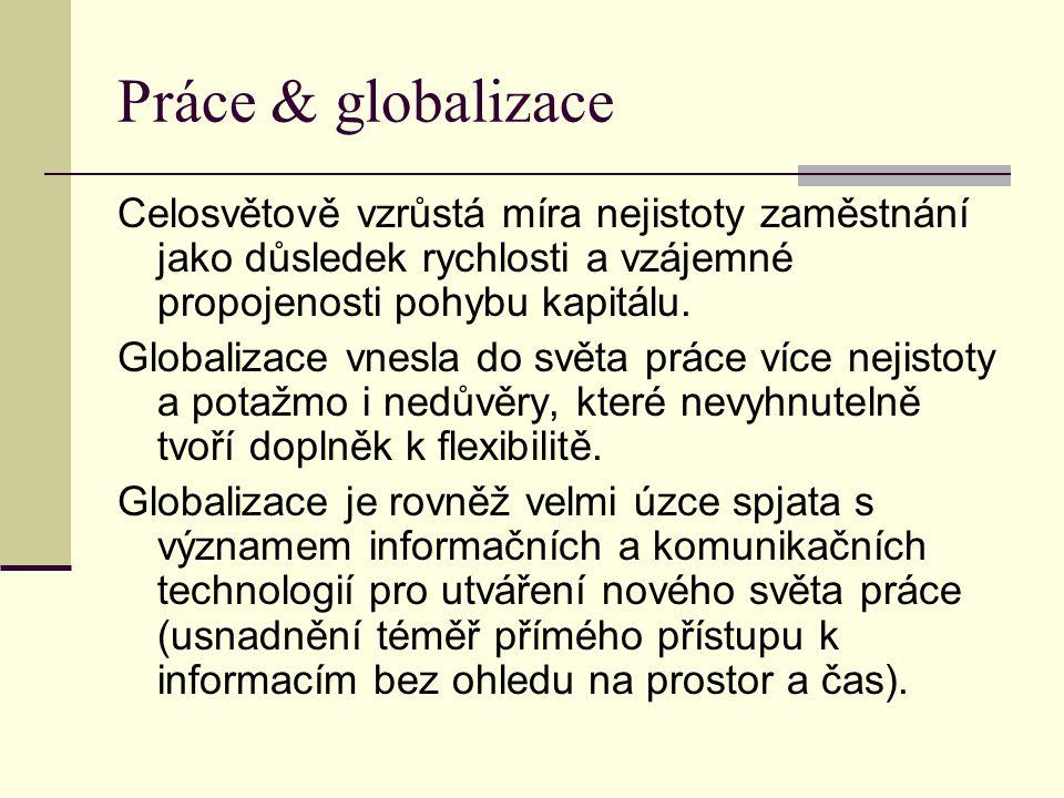 Práce & globalizace Celosvětově vzrůstá míra nejistoty zaměstnání jako důsledek rychlosti a vzájemné propojenosti pohybu kapitálu.