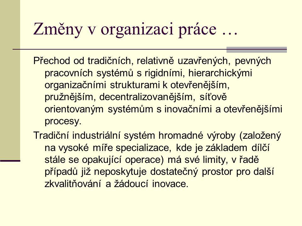 Změny v organizaci práce …