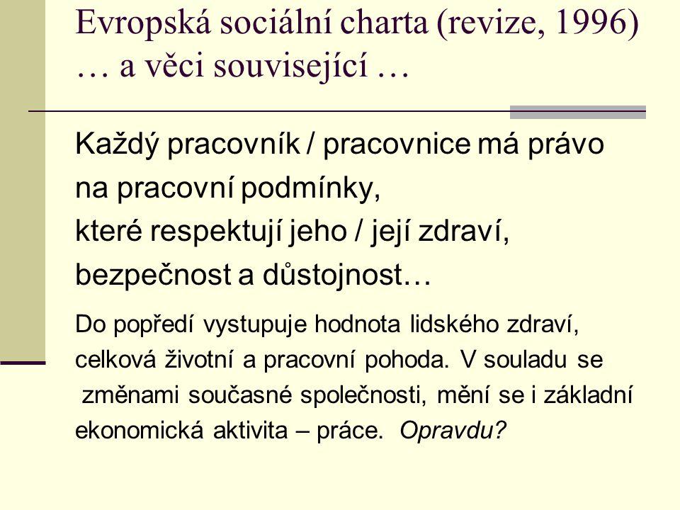 Evropská sociální charta (revize, 1996) … a věci související …