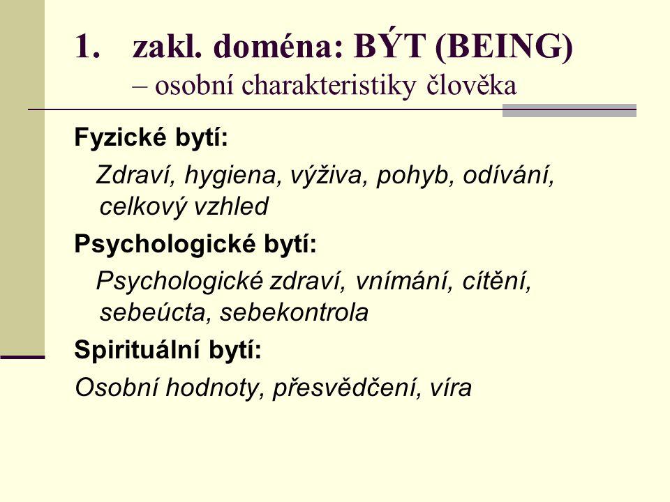 zakl. doména: BÝT (BEING) – osobní charakteristiky člověka