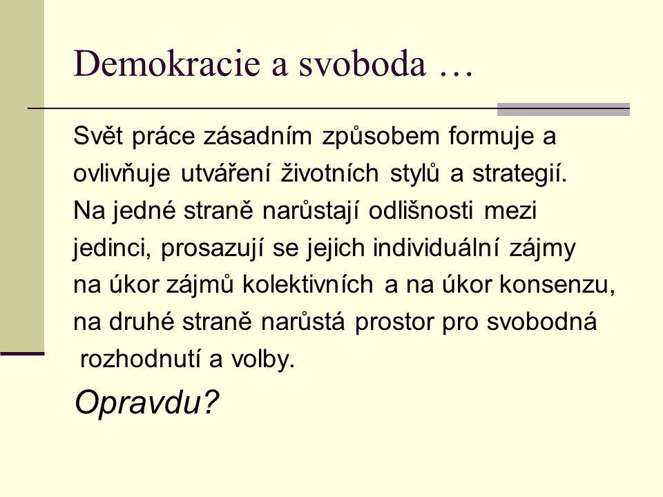 Demokracie a svoboda … Opravdu Svět práce zásadním způsobem formuje a