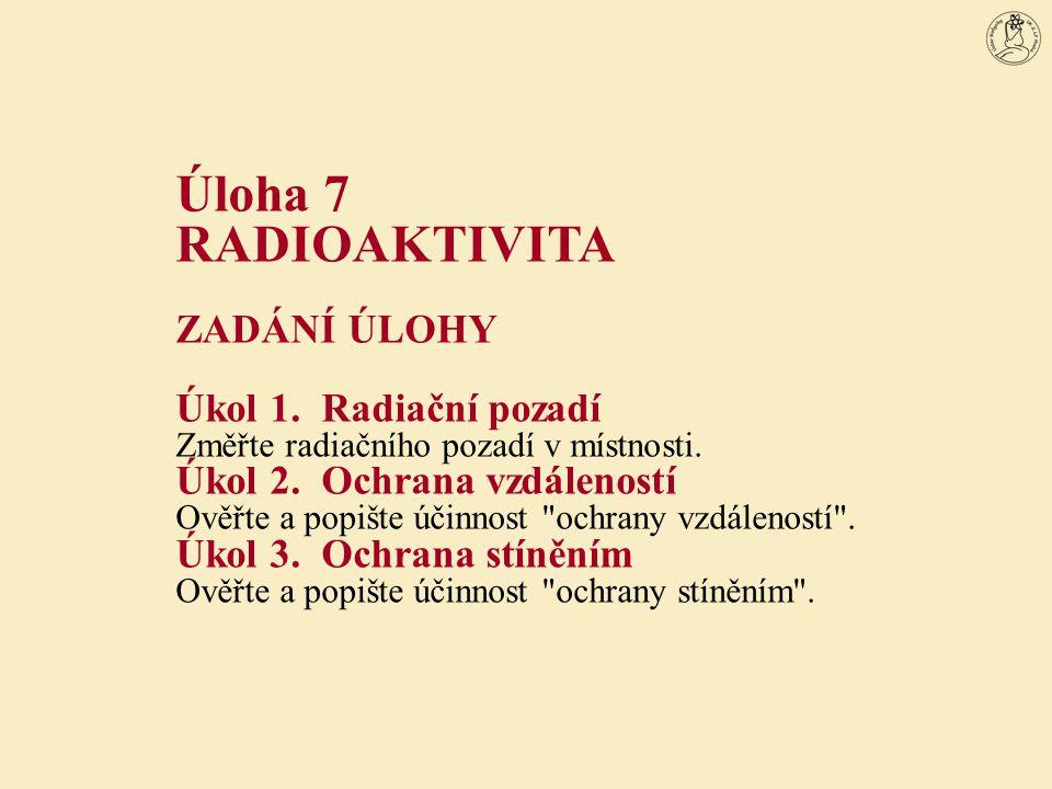 Úloha 7 RADIOAKTIVITA ZADÁNÍ ÚLOHY Úkol 1. Radiační pozadí