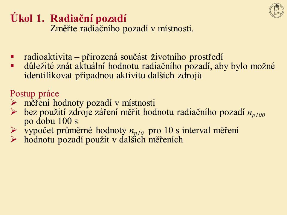 Úkol 1. Radiační pozadí Změřte radiačního pozadí v místnosti.