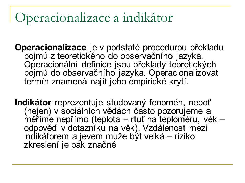 Operacionalizace a indikátor