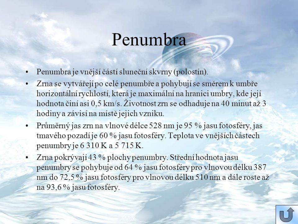 Penumbra Penumbra je vnější částí sluneční skvrny (polostín).
