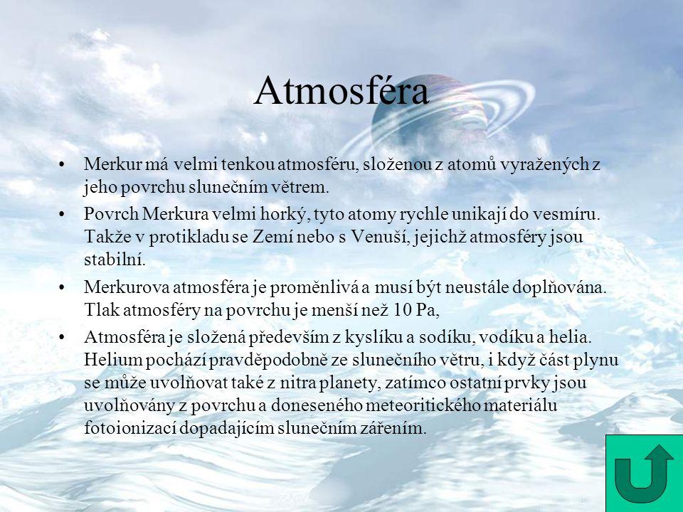 Atmosféra Merkur má velmi tenkou atmosféru, složenou z atomů vyražených z jeho povrchu slunečním větrem.