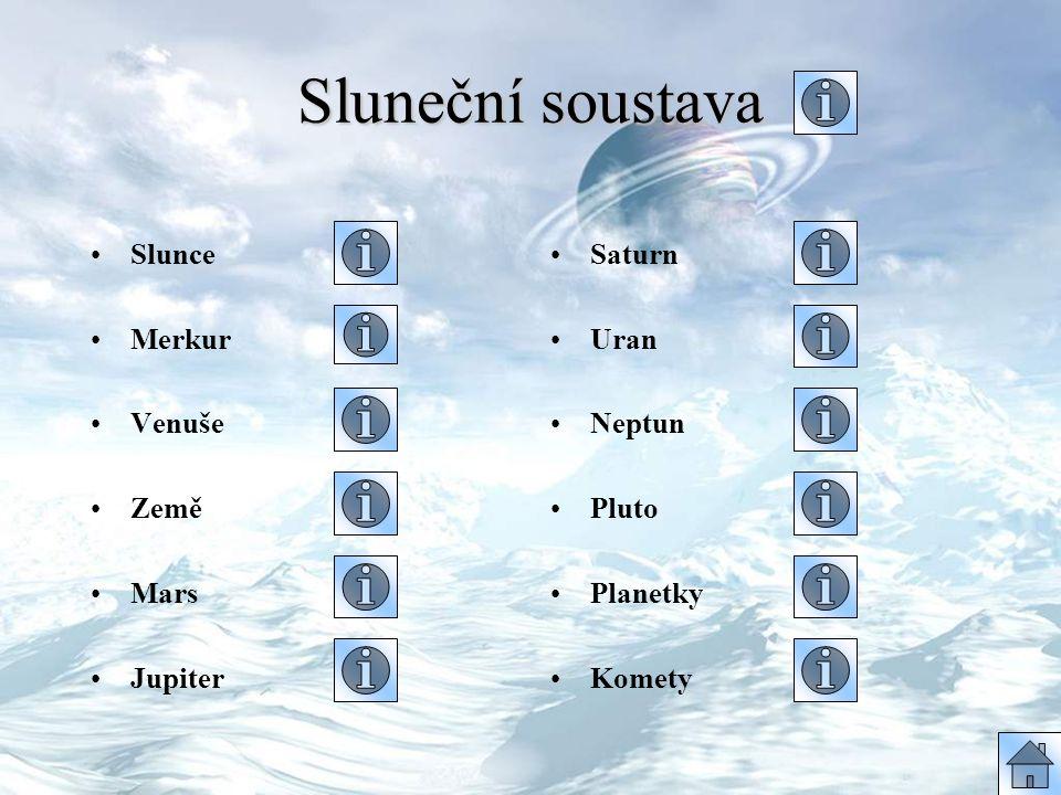 Sluneční soustava Slunce Merkur Venuše Země Mars Jupiter Saturn Uran