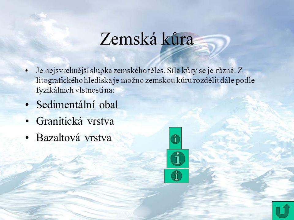 Zemská kůra Sedimentální obal Granitická vrstva Bazaltová vrstva