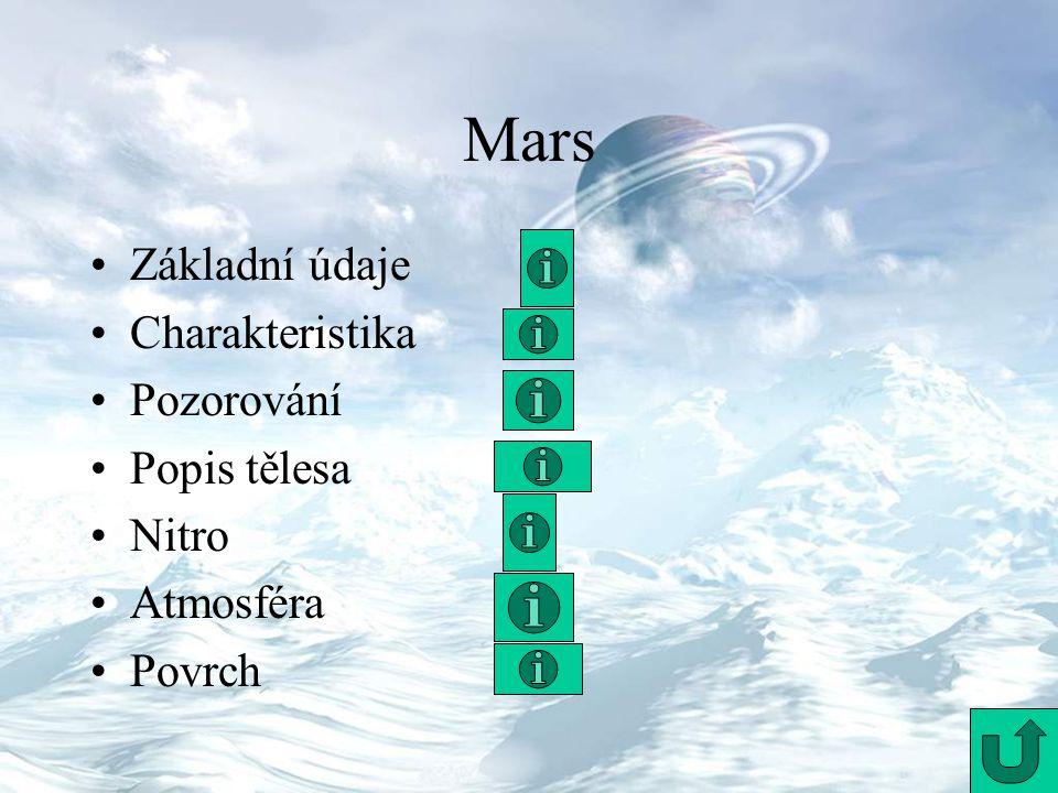 Mars Základní údaje Charakteristika Pozorování Popis tělesa Nitro