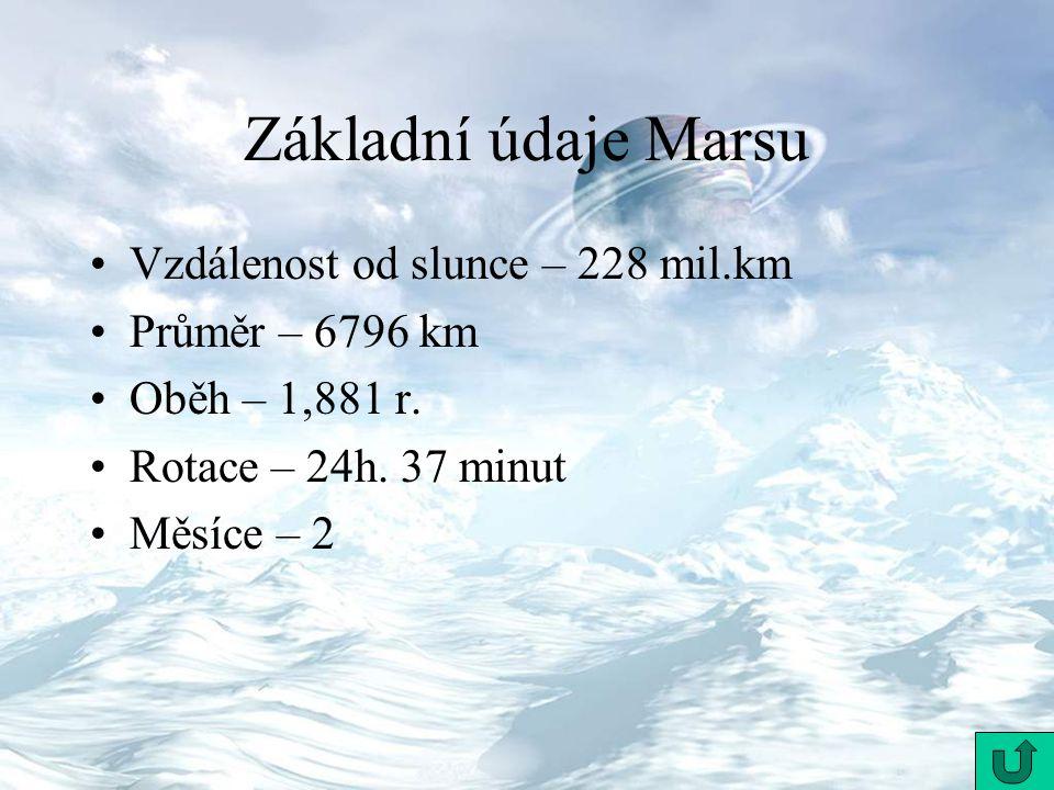 Základní údaje Marsu Vzdálenost od slunce – 228 mil.km