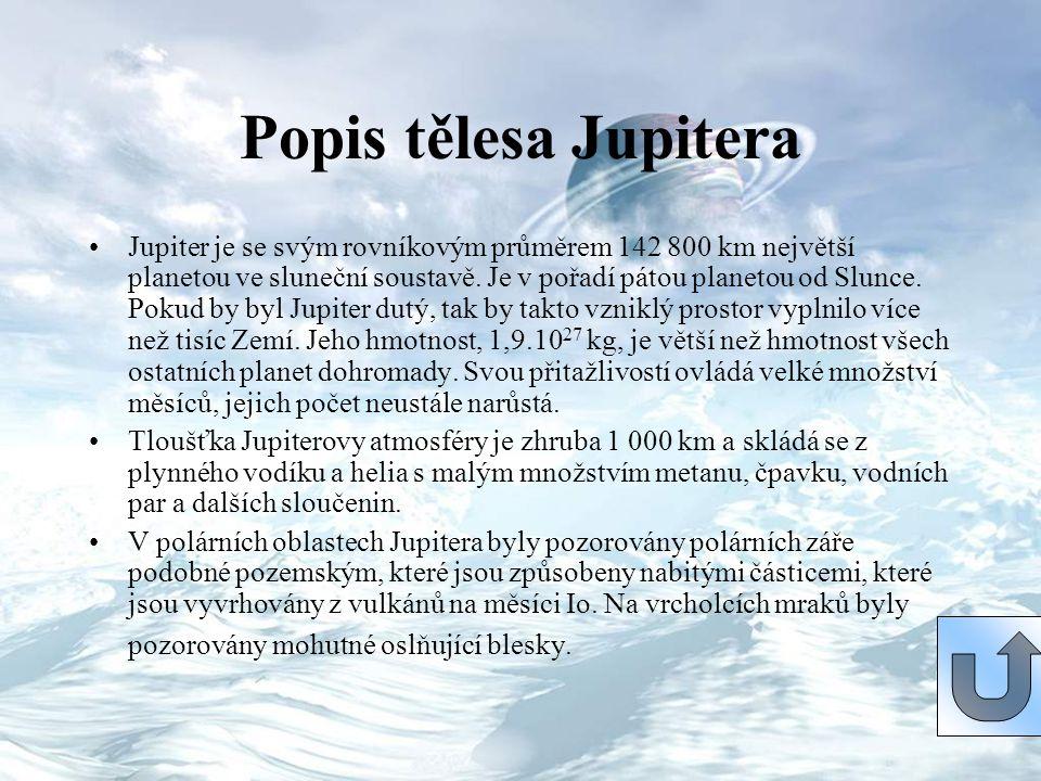 Popis tělesa Jupitera