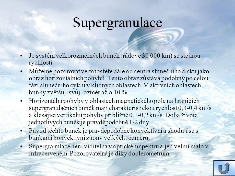 Supergranulace Je systém velkorozměrných buněk (řádově 30 000 km) se stejnou rychlostí.