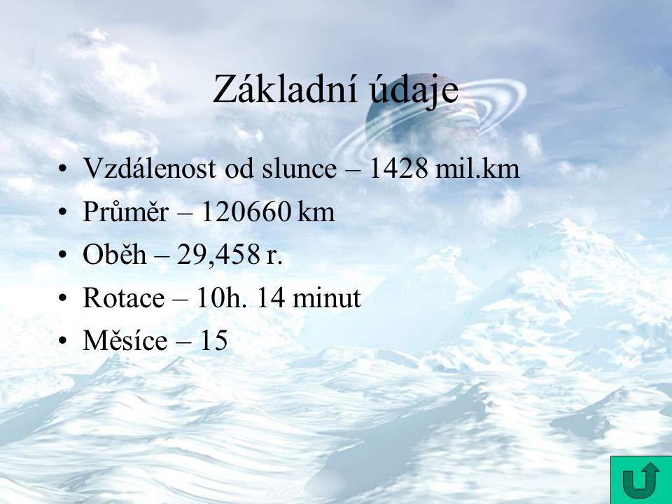 Základní údaje Vzdálenost od slunce – 1428 mil.km Průměr – 120660 km