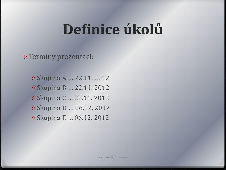 Definice úkolů Termíny prezentací: Skupina A … 22.11. 2012