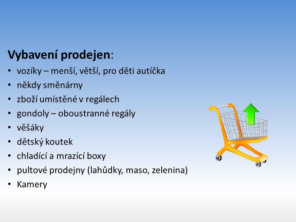 Vybavení prodejen: vozíky – menší, větší, pro děti autíčka