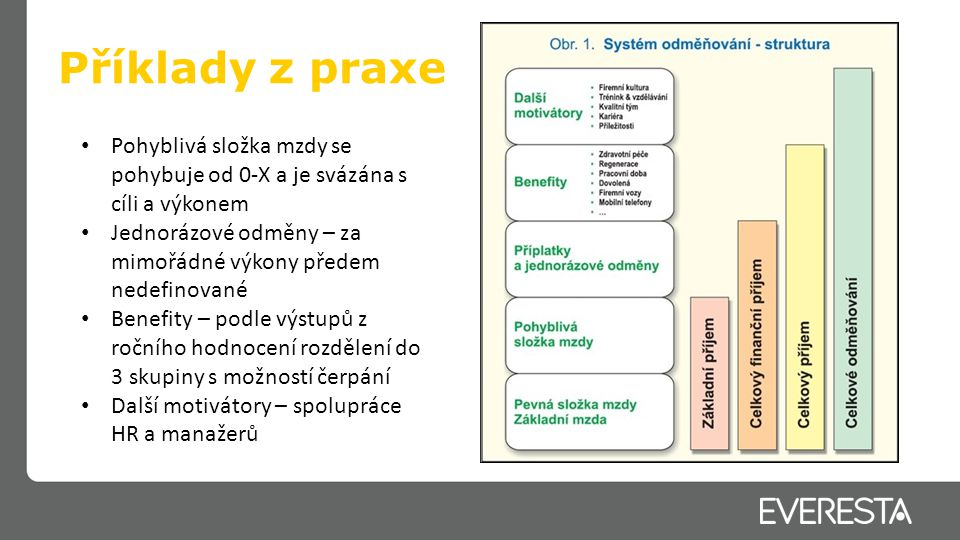 Příklady z praxe Pohyblivá složka mzdy se pohybuje od 0-X a je svázána s cíli a výkonem.