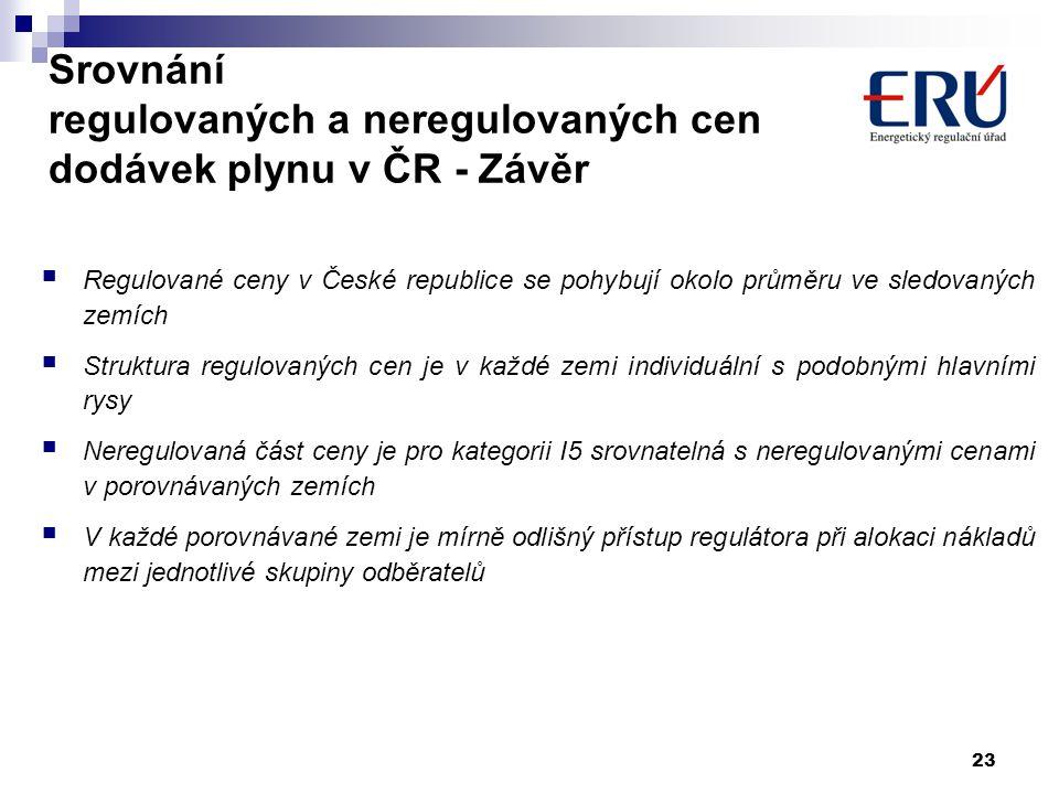 Srovnání regulovaných a neregulovaných cen dodávek plynu v ČR - Závěr
