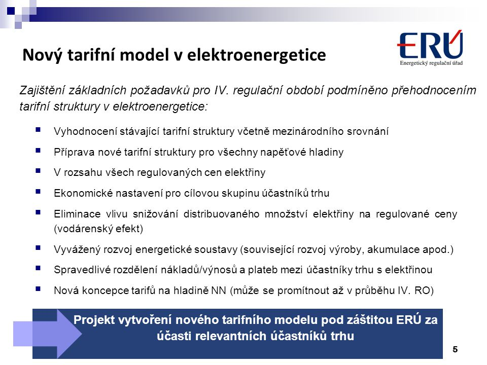 Nový tarifní model v elektroenergetice
