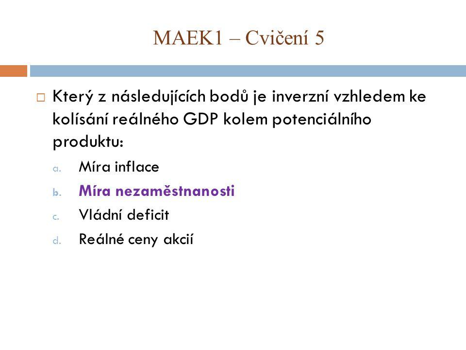 MAEK1 – Cvičení 5 Který z následujících bodů je inverzní vzhledem ke kolísání reálného GDP kolem potenciálního produktu: