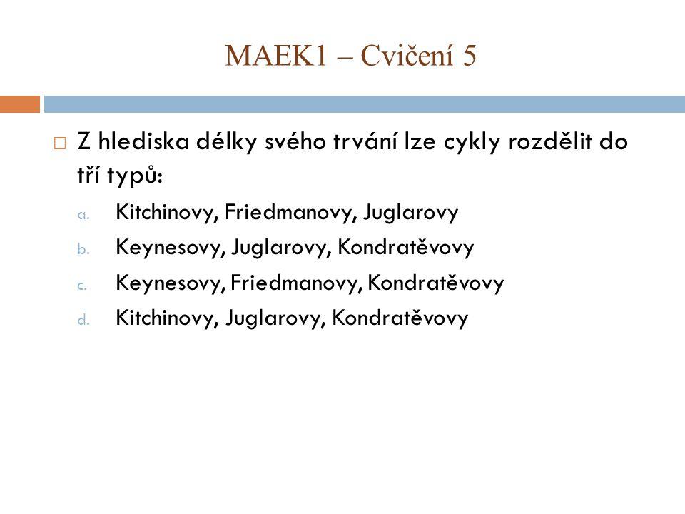 MAEK1 – Cvičení 5 Z hlediska délky svého trvání lze cykly rozdělit do tří typů: Kitchinovy, Friedmanovy, Juglarovy.