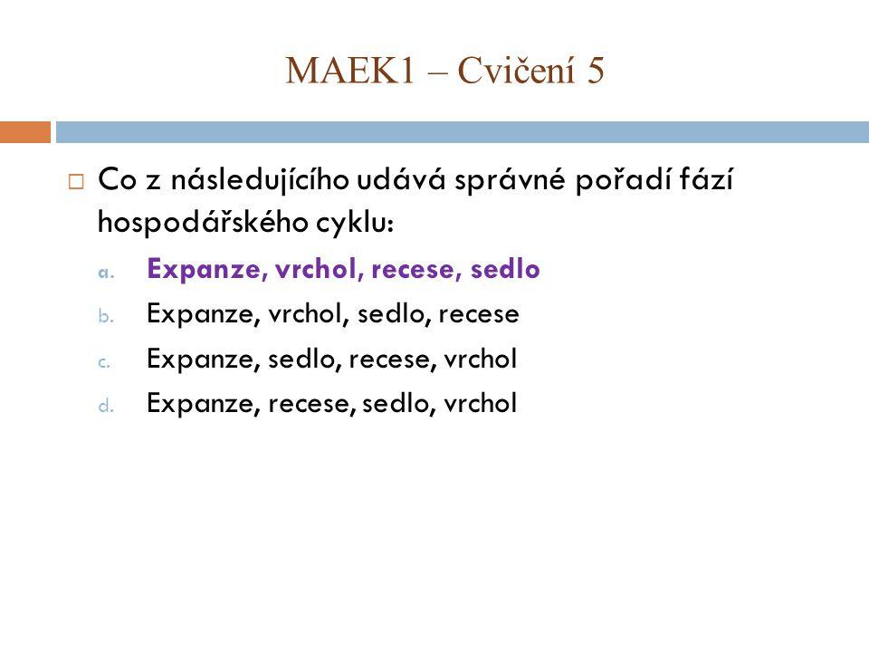 MAEK1 – Cvičení 5 Co z následujícího udává správné pořadí fází hospodářského cyklu: Expanze, vrchol, recese, sedlo.