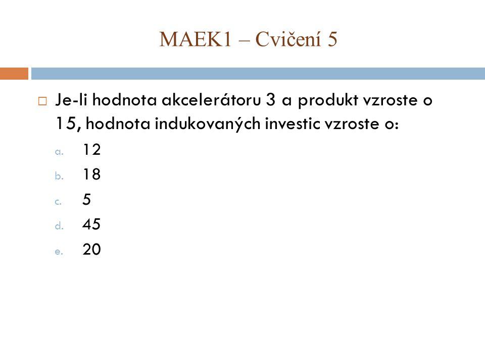 MAEK1 – Cvičení 5 Je-li hodnota akcelerátoru 3 a produkt vzroste o 15, hodnota indukovaných investic vzroste o: