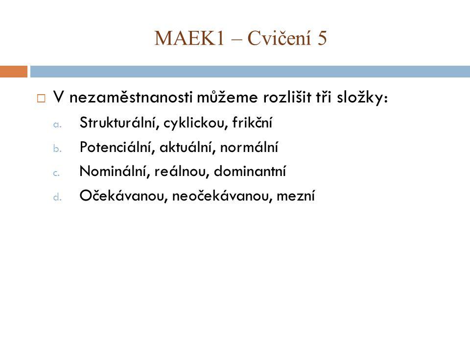 MAEK1 – Cvičení 5 V nezaměstnanosti můžeme rozlišit tři složky: