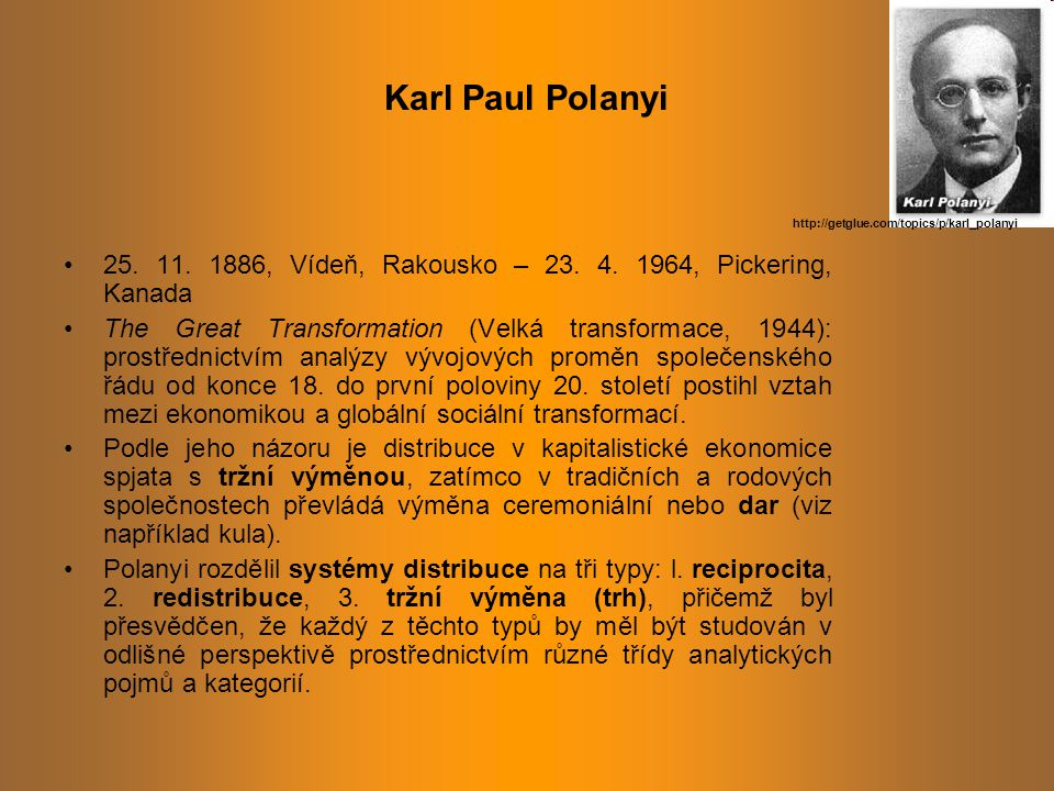 Karl Paul Polanyi http://getglue.com/topics/p/karl_polanyi. 25. 11. 1886, Vídeň, Rakousko – 23. 4. 1964, Pickering, Kanada.