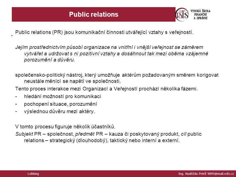 Public relations . Public relations (PR) jsou komunikační činnosti utvářející vztahy s veřejností.