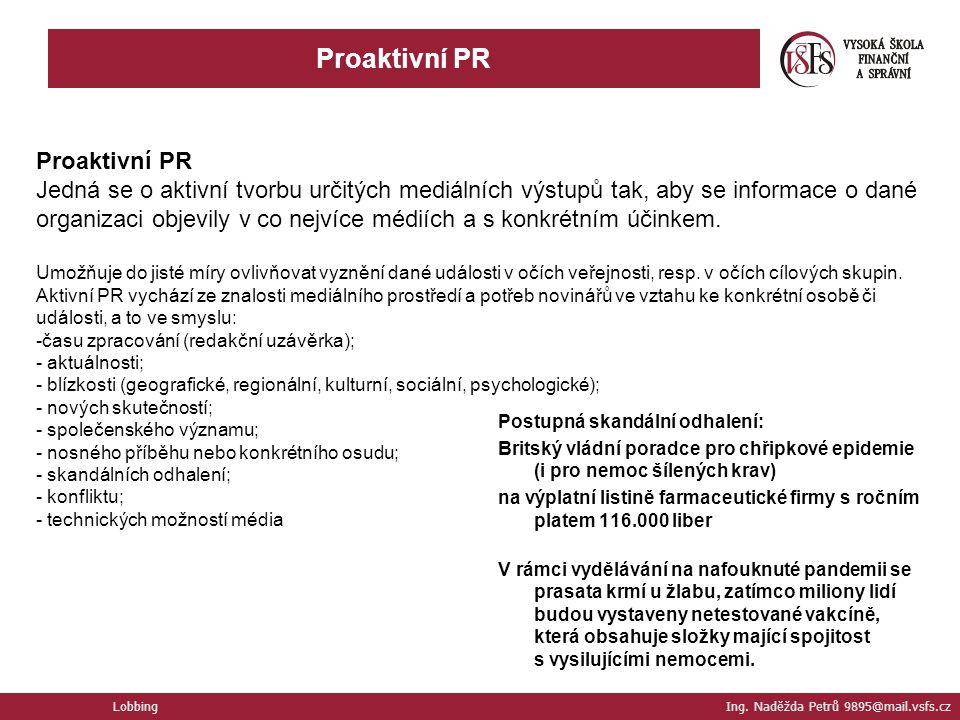 Proaktivní PR Proaktivní PR